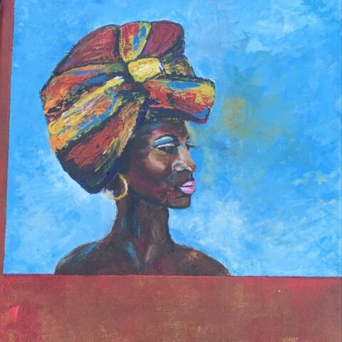 Afrikaanse vrouw met hoofddoek